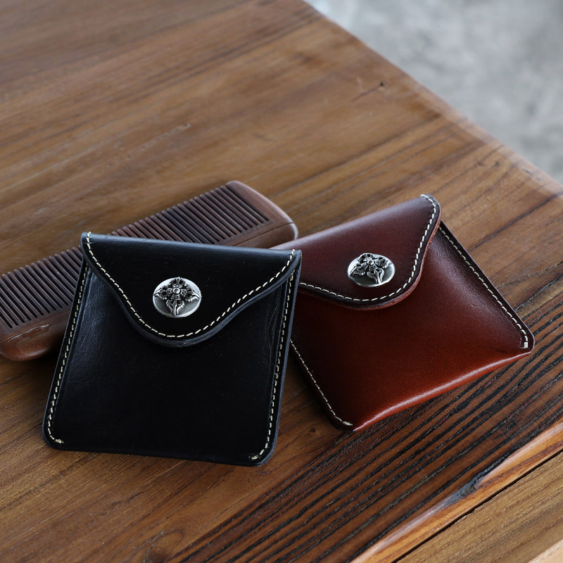 Original Japanese and Korean retro top leather mens and womens Mini vegetable tanned leather small key waist bag, change purse and coin bag
