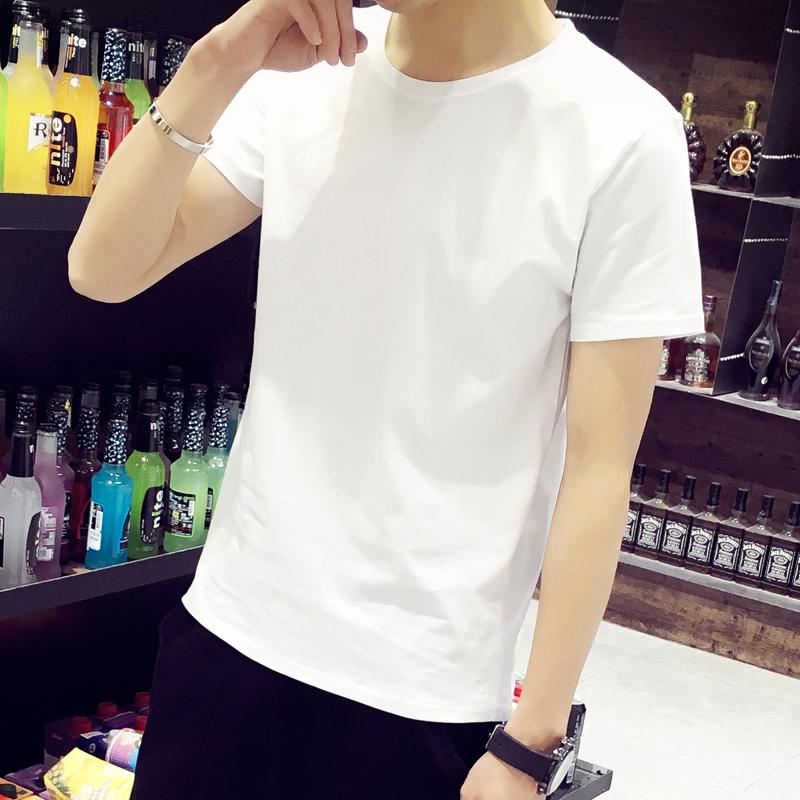 纯白短袖t恤男t白色男士体桖冰丝透气网红衣服恤纯棉大码白潮修身