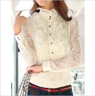 2014 spring new retro women s large size long sleeved shirt Korean female ol lace jacquard lace shirt bottoming shirt