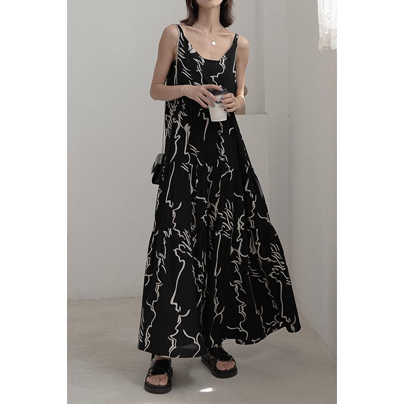 时游抽象线条花吊带裙韩版复古气质高个子大摆A字中长款连衣裙仙