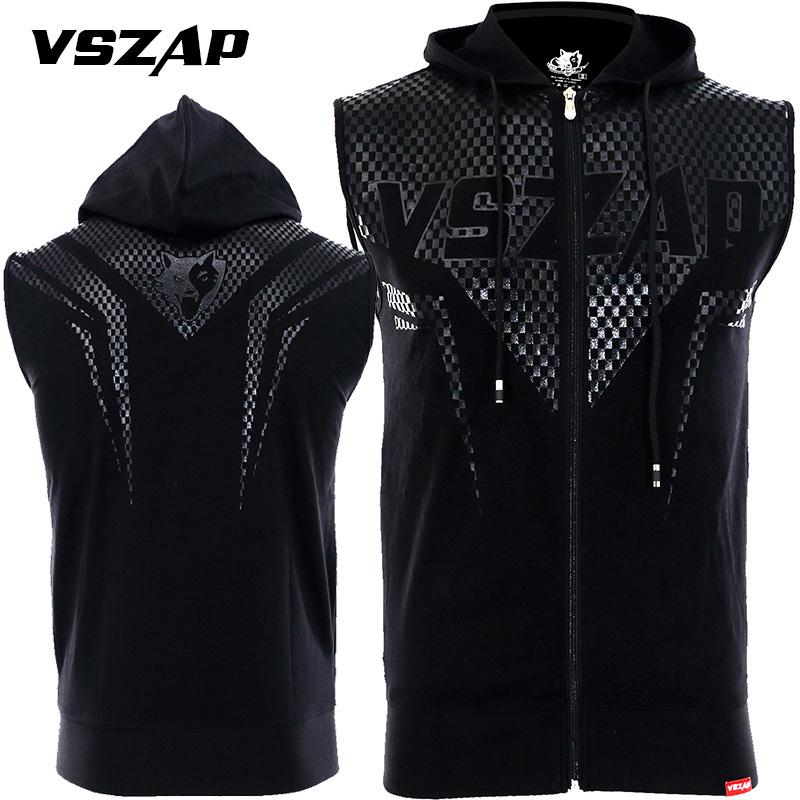 VSZAP夏季外套运动健身连帽无袖背心格斗MMA搏击修身卫衣开衫马甲