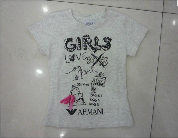 Лето 2014 женщины с короткими рукавами носить футболку armai евро хлопок печатных детей круглой шеи t рубашка с коротким рукавом серый