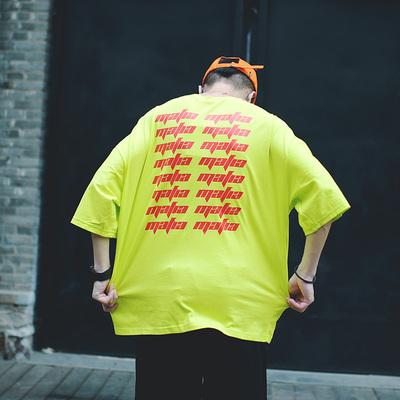 骚气街头范swag宽松oversize荧光绿t恤 U1316 P40