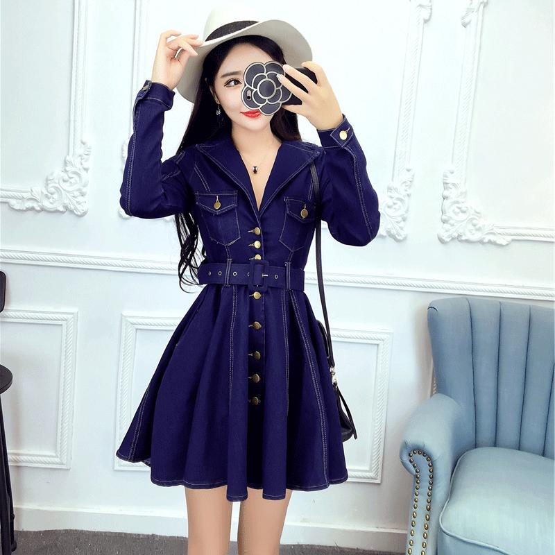 欧美风2019春装性感洋气时髦女装西装领长袖显瘦牛仔连衣裙新款潮