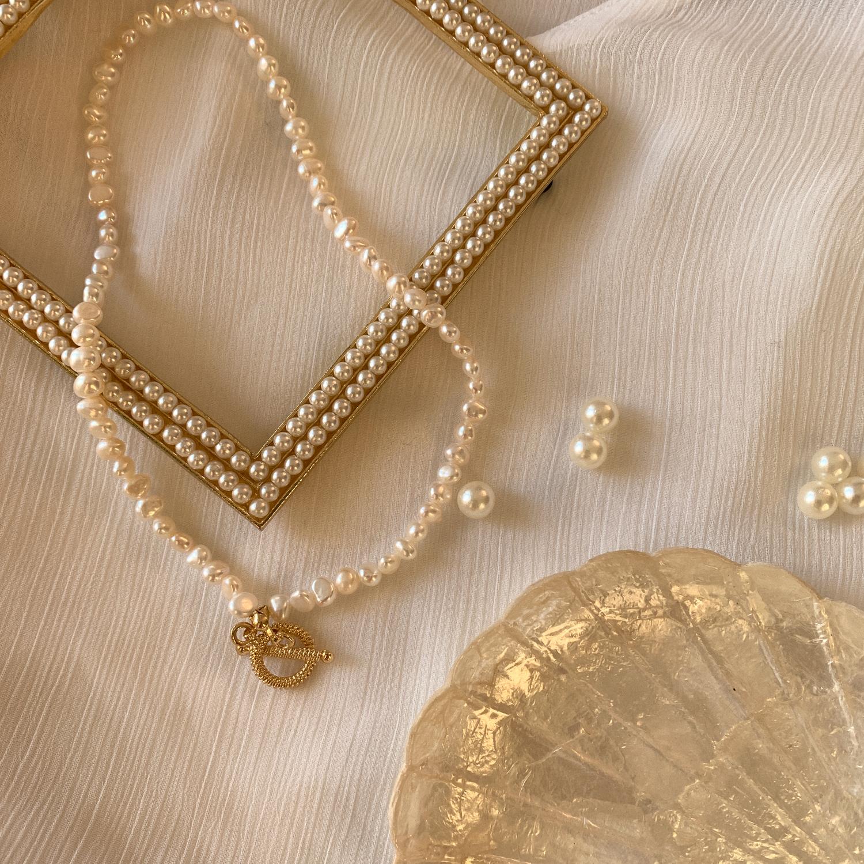 复古巴洛克珍珠短款锁骨链双层手链choker折扣中项链手链两戴
