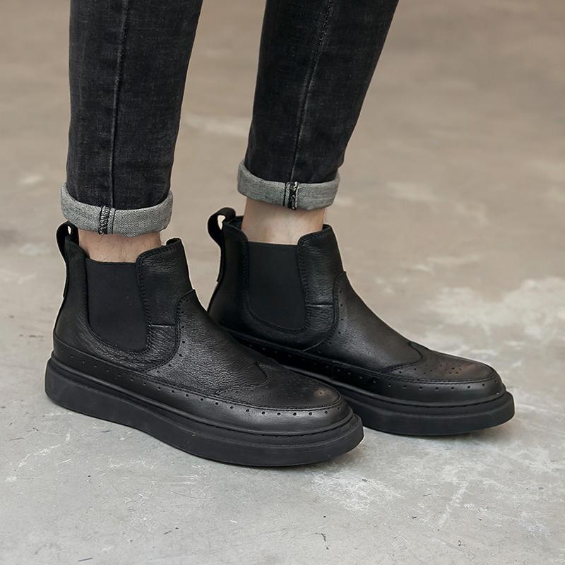 新款尖头 真皮布洛克系带男皮靴高帮鞋 马丁靴818-2-P265控338