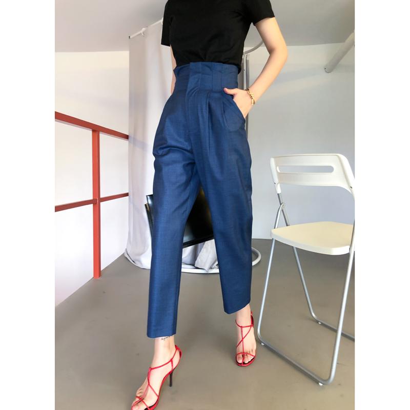 (用20元券)夏季新款百搭修身显瘦夏高腰休闲裤