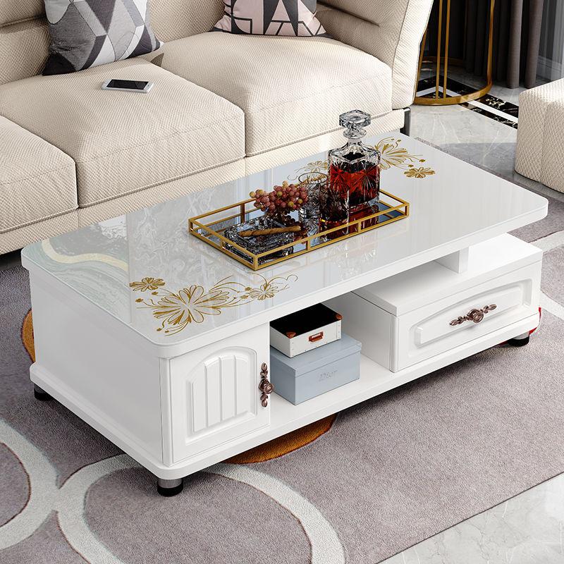欧式圆角茶几简约现代电视柜茶几组合小户型钢化玻璃茶桌桌子客厅