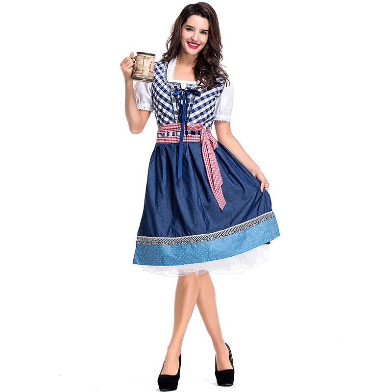New German Beer Festival Carnival dress beer gril export blue check bar work clothes