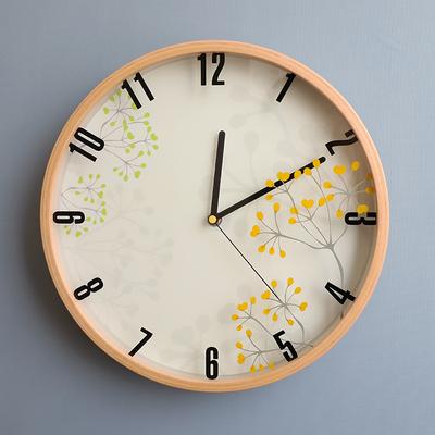 田园简约墙钟北欧宜家时钟日式实木静音卧室客厅挂钟免打孔钟表