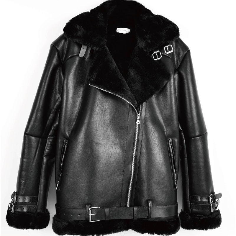 2020 winter suede PU leather cool classic fur one locomotive loose jacket imitation fur coat womens thick