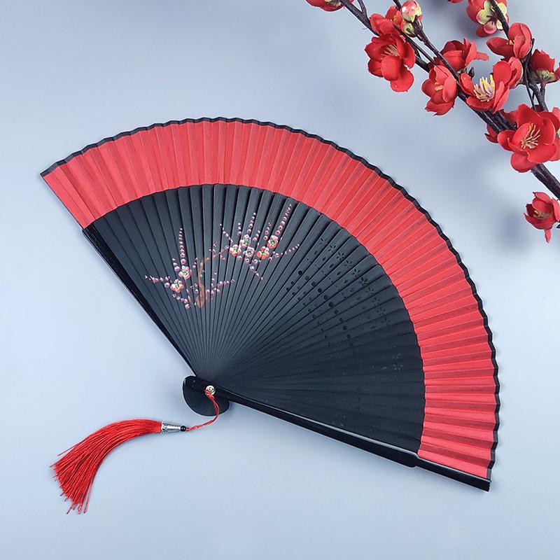 扇子古风折扇中国风红色古代汉服舞蹈扇酒吧蹦迪好开合顺滑折叠扇 Изображение 1