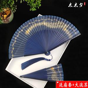 中国风扇子折扇孔雀翎羽毛造型扇子古典古风女式折叠随身真丝竹扇