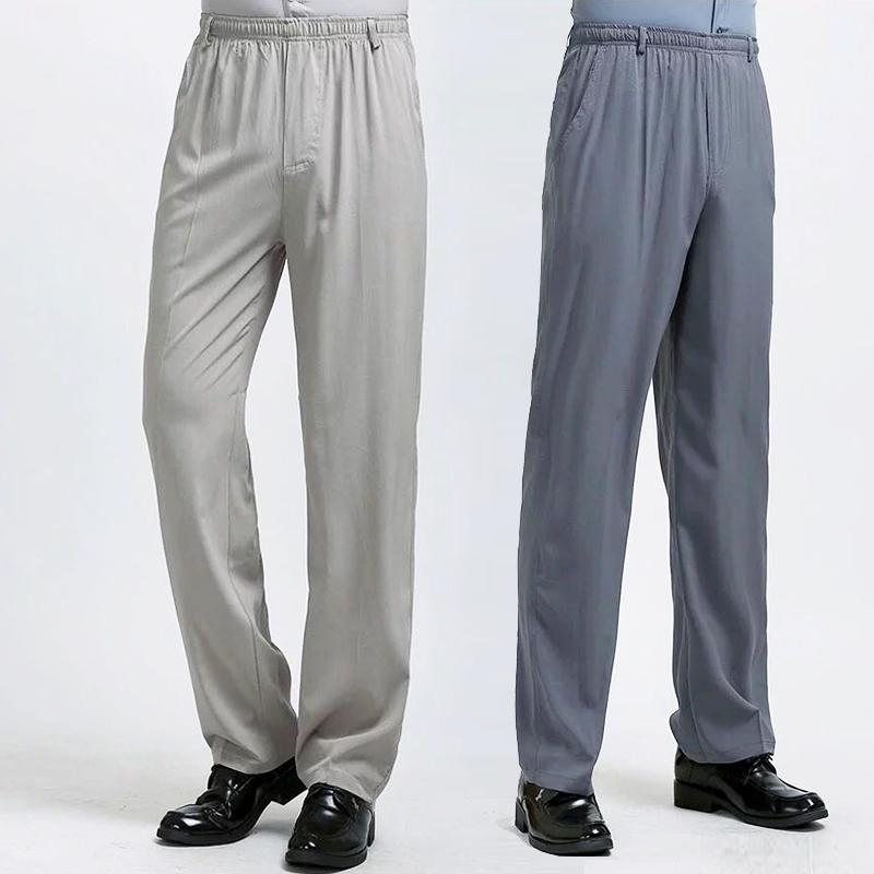 (用3元券)桑蚕丝爸爸男裤宽松直筒夏季薄款中老年人松紧腰运动休闲真丝长裤