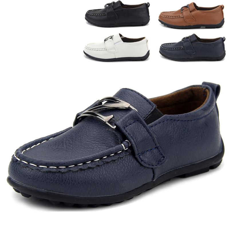 Мальчики черная кожа обувь детей обувь ребенка горох Корейский приливные Обувь повседневная обувь белый осенью 2015 Новой Англии
