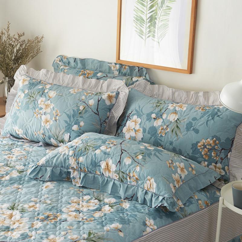 纯棉绗缝加厚夹棉枕套 柔软全棉枕头套花边单人枕皮 一对包邮多色