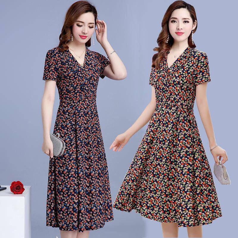 连衣裙2020新款夏气质流行高端长裙牛奶丝碎花裙子女中长款显瘦女