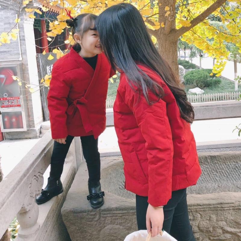 男女童中国风轻薄羽绒服复古风唐装冬装外套过年喜庆拜年服亲子装