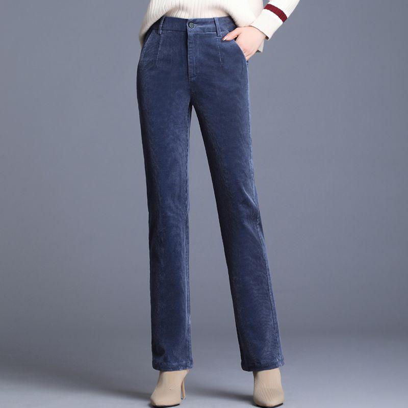 Corduroy womens pants high waist striped pants autumn and winter new fashion versatile casual pants SLIM STRAIGHT pants