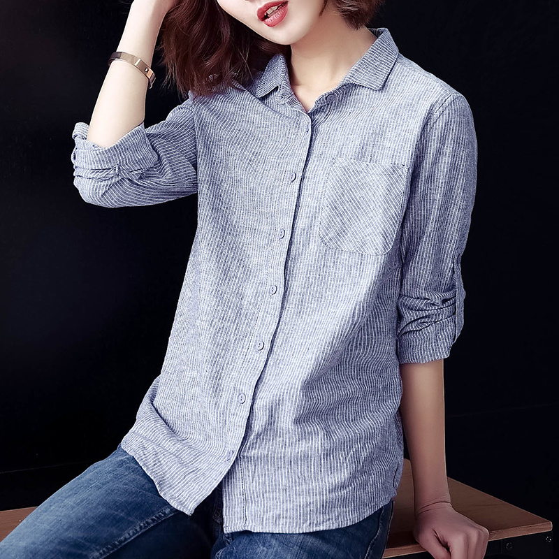 Cotton and linen shirt Linen Shirt womens long sleeve linen top large size literature and art casual loose stripe autumn clothes wear thin