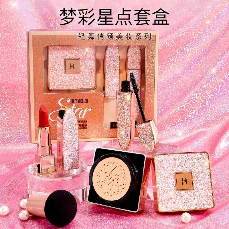 Han Belle dream coloured star pack box mushroom head air cushion BB cream mascara, non coloured mirror lipstick makeup set