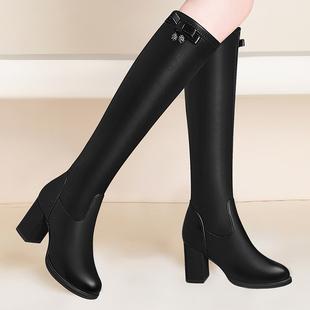 意爾康女鞋旗艦店優惠券不過膝長靴女靴子冬季2020新款粗跟高跟皮