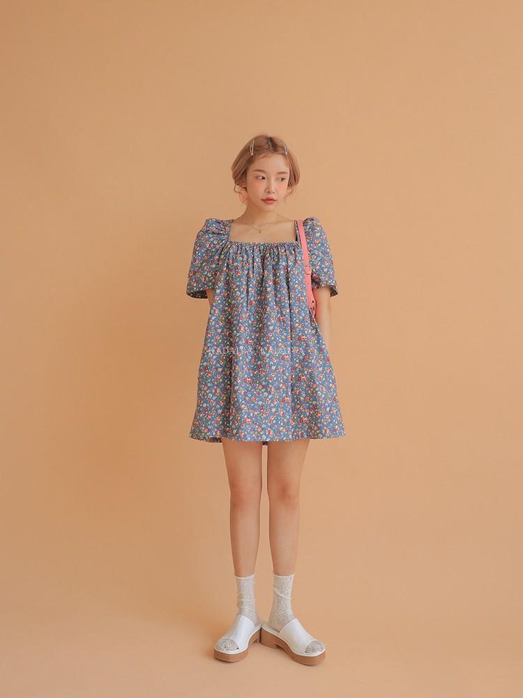 KADAIYA stylenanda喜欢花花连衣裙吗泫雅同款碎花后系带连衣短裙