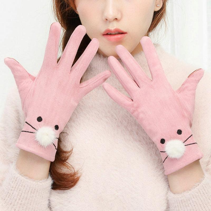 手套女士秋冬季韩版学生可爱日系薄款骑行冬天加绒骑车五指保暖