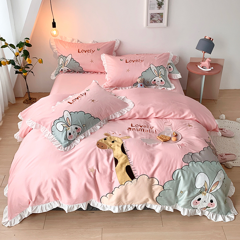 Four piece set of long staple cotton cartoon pure cotton bed sheet for children lovely all cotton girl 1.5m bed boy bedding
