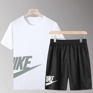 领25元券购买夏季新款跑步运动服透气男夏健身速干运动短袖五分短裤运动套装男