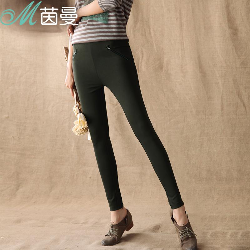 Специальные акции Лейн Манн женщин высокой талии и живота тонкий стрейч леггинсы связанные ноги «8340910128»
