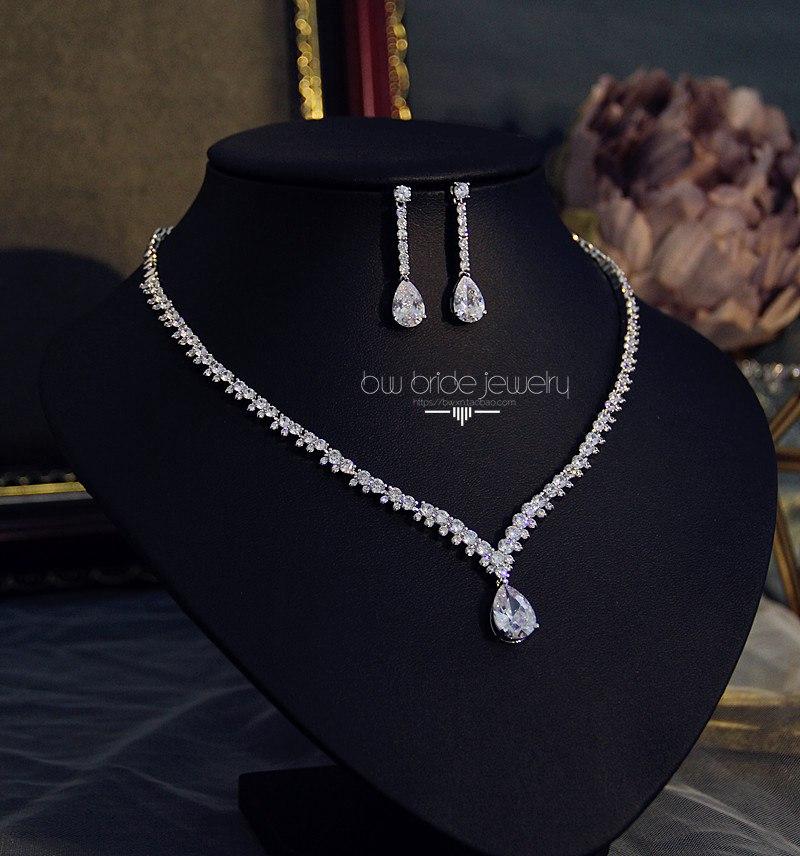 经典锆石项链耳环套装简约新娘饰品