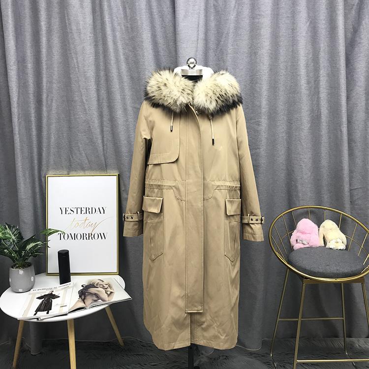 2018新款女士派克服 貉子毛帽 俩件套三种穿法YML61875