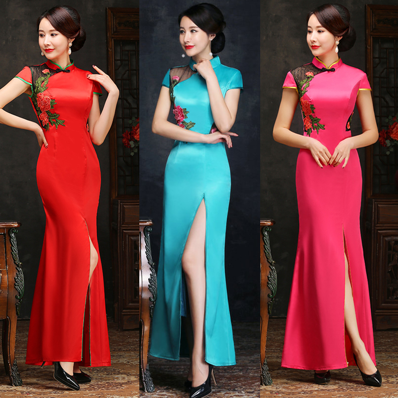 21 new single split and lengthened Chinese style cheongsam womens performance dress, walk show banquet etiquette dress, large size custom-made