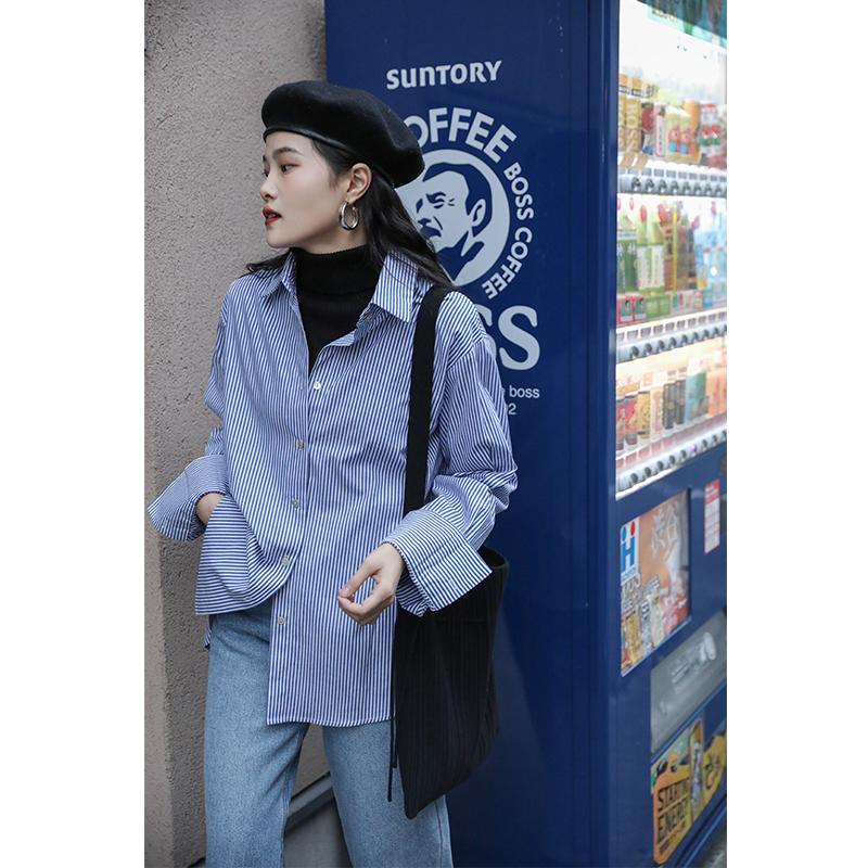 觅定设计师蓝色叠穿竖条纹衬衫女秋冬百搭设计感小众长袖复古港味