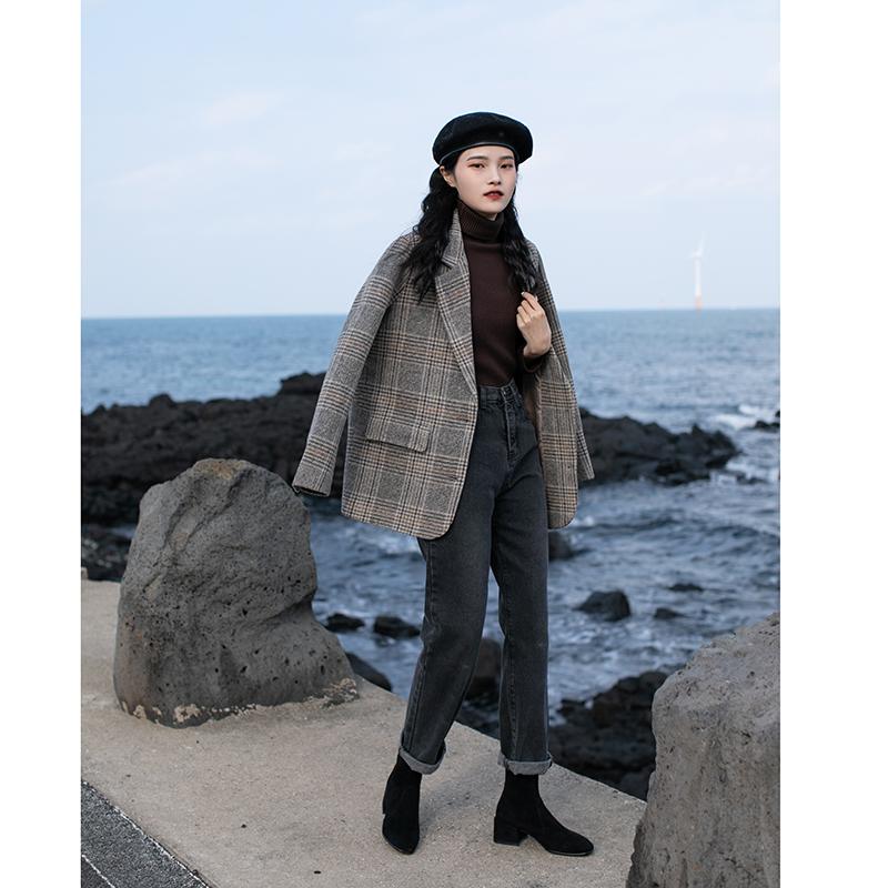 觅定复古格子毛呢西装外套女秋冬加厚大衣短款小个子2020新款休闲