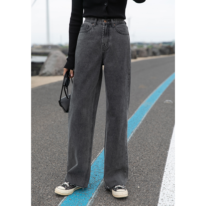 觅定复古烟灰色牛仔裤女直筒宽松黑色高腰学生阔腿裤泫雅老爹裤子 thumbnail