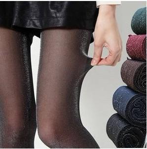 丝袜亮丝珠光个性连裤袜显瘦假透肉薄款打底裤女彩色金丝银丝闪光14.90元包邮