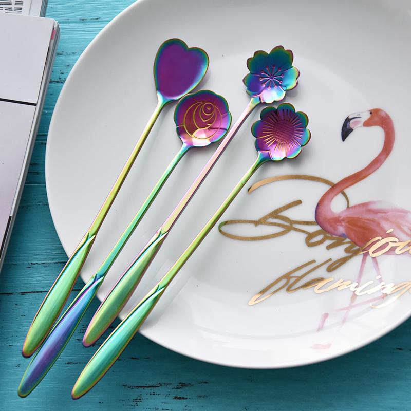 Японский цветение вишни ложка нержавеющей стали лед ложка еда бар сковорода кофе размешивать ложка творческий кружка ложка десерт чай ложка
