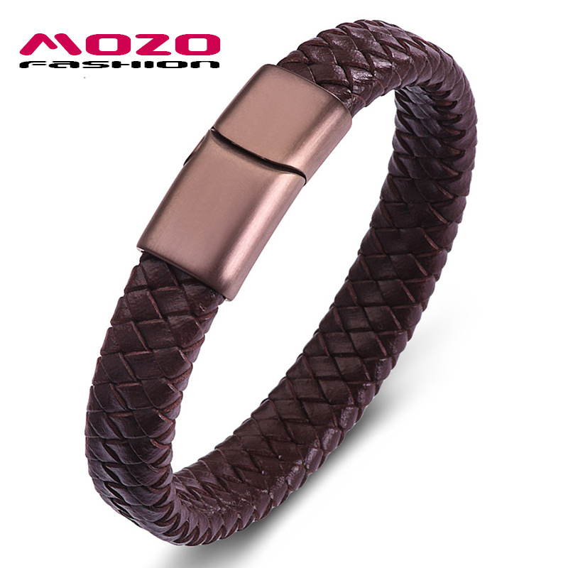 Titanium steel magnetic snap PU leather woven leather bracelet European and American fashion mens bracelet punk rock fashion mens Bracelet