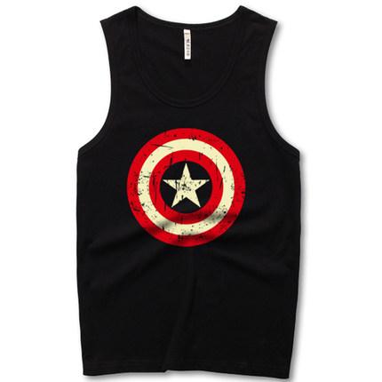 欧美美国队长嘻哈潮牌运动健身t恤