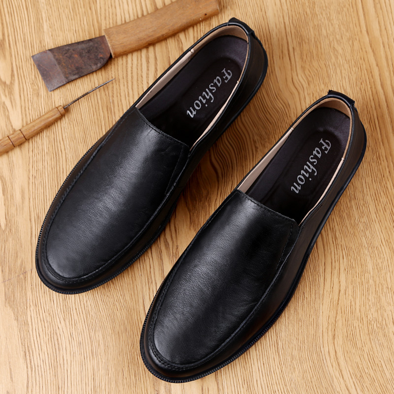 Mens leather shoes, leather soft soles, fashionable shoes, British business casual shoes