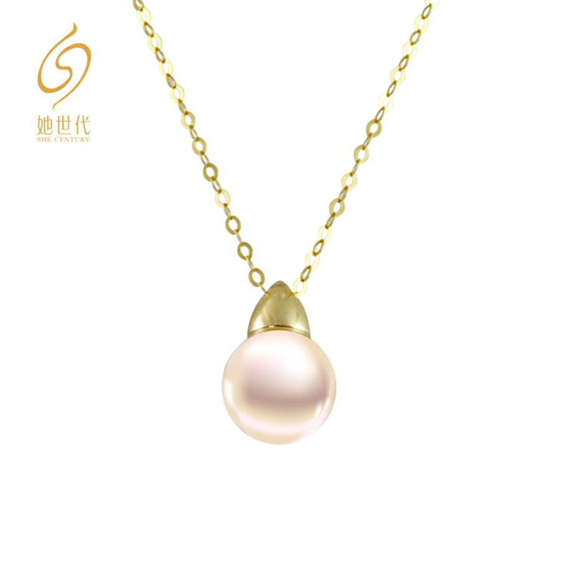 She has a natural sea pearl 18K gold necklace for generations. Women give their girlfriend a gift for their mothers Tanabata Festival
