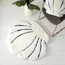 澳尊卧室床边地毯沙发毯圆形贝壳地毯地垫羊毛真皮可爱短毛绒地毯