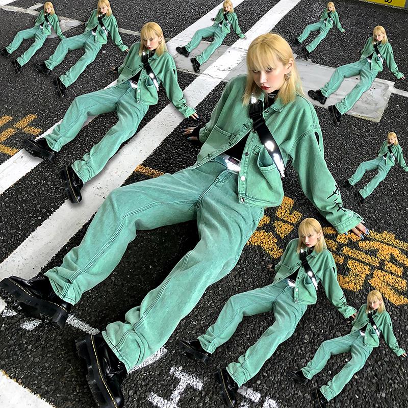 PINK院长 原创机能绿裤型100芬宽松直筒lisa百搭韩版男女牛仔长裤169.00元包邮