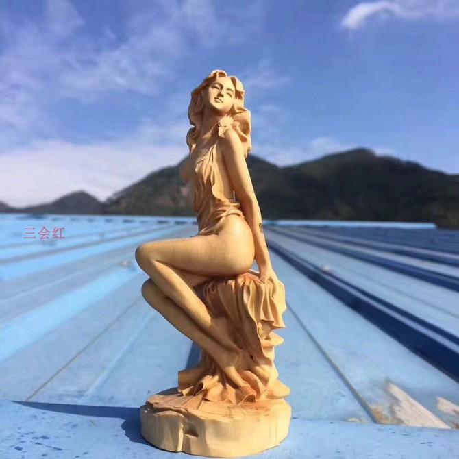 工艺品办公室博古架装 饰品 崖柏黄杨木雕女神摆件家居客厅实木雕刻