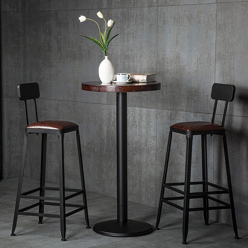 吧台椅高脚凳铁艺家用靠背吧凳桌椅现代简约高椅子酒吧椅高脚椅子