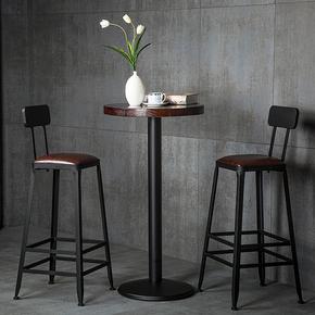 吧台椅高脚凳铁艺家用靠背吧凳桌椅现代高椅子简约酒吧椅高脚椅子