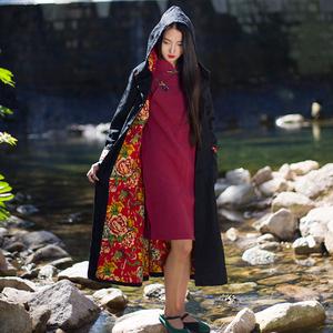 2019秋冬新款中式連帽加厚夾棉風衣大碼女裝外套冬季棉衣中長款