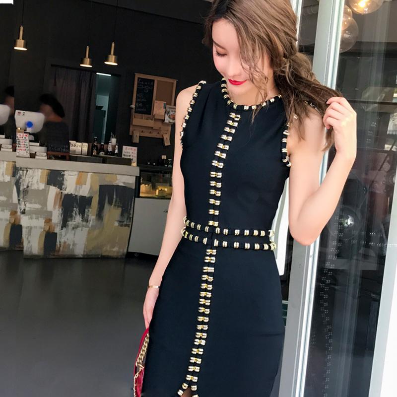 实拍欧洲新品特价金属装饰修身包臀订珠宴会晚装开叉礼服裙连衣裙